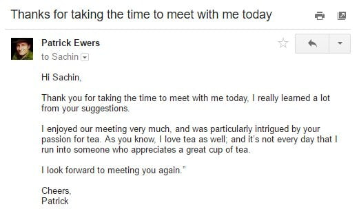 How to write a great follow up email after a meeting mindmaven example ii common ground reference spiritdancerdesigns Image collections